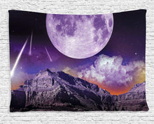 Beautiful Night Mountain Landscape With Moon Tapestry