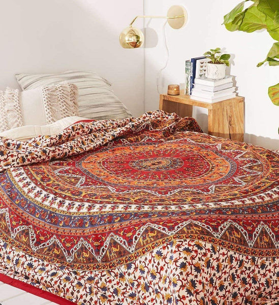 Mandala Bohemian Psychedelic Intricate Floral Design Kerala Tapestry Magical Thinking Tapestry Indian Bedspread Tapestry 54x84 Inches,(140cmsx215cms) Red