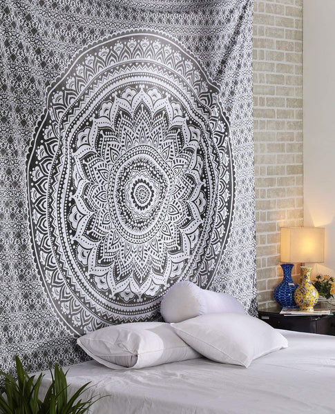 Grey Mandala Décor Tapestry