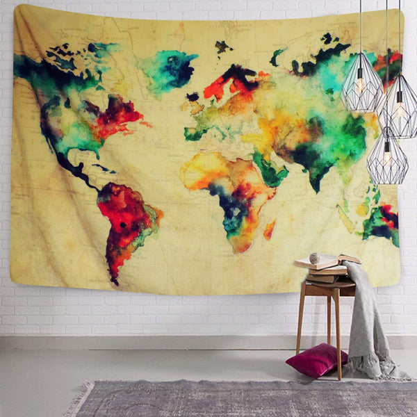 Beautiful Old School World Map Tapestry