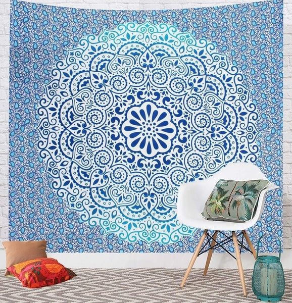 Blue Flower Ombre Mandala Wall Tapestry