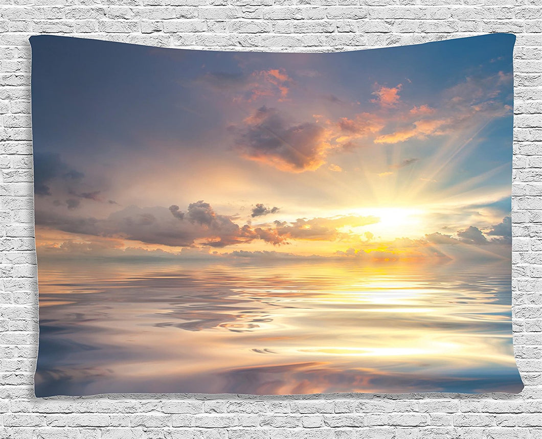 Ambesonne Ocean Decor Collection, Mystic View Of Sunset Over Sea With Reflection In Water Majestic Clouds In The Sky, Bedroom Living Room Dorm Wall Hanging Tapestry, 60W X 40L Inch