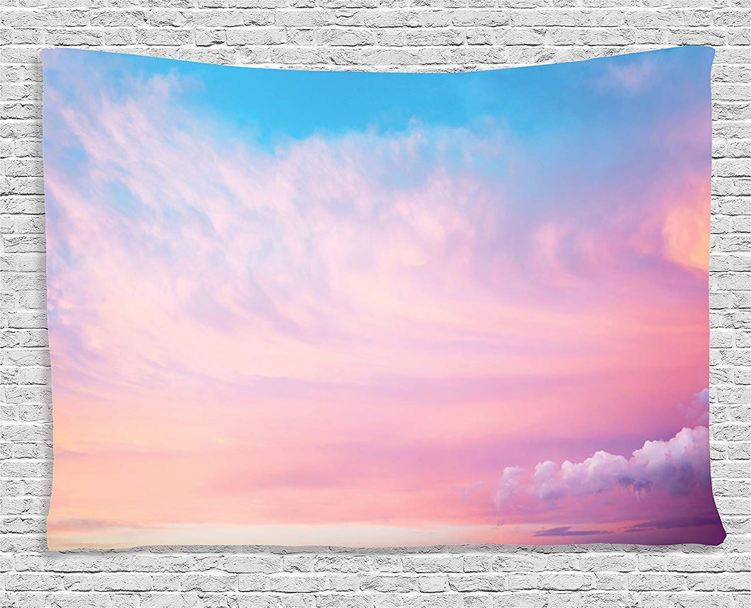 Ambesonne Apartment Decor Collection, Mystical Sky with Fluffy Clouds Heavenly Inspirational Hope Pastel Colored Nature Theme, Bedroom Living Room Dorm Wall Hanging Tapestry, 80 X 60 Inches, Pink Blue