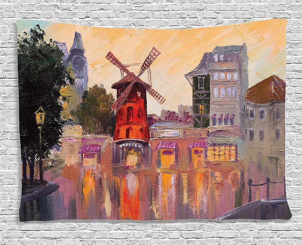 Ambesonne European Cityscape Decor Collection, Painting of Moulin Rouge in Paris City Centre of Love Vintage France Artprint Home, Bedroom Living Room Dorm Wall Hanging Tapestry, 80 X 60 Inches, Multi