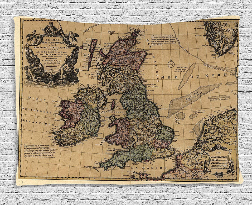 British Islands Ancient Map Décor Tapestry