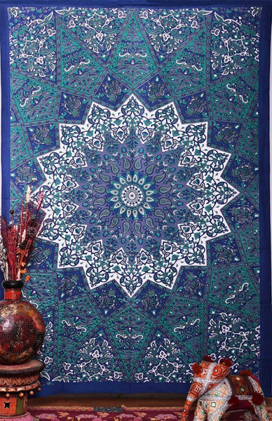 Chakra Blue And Green Mandala Tapestry