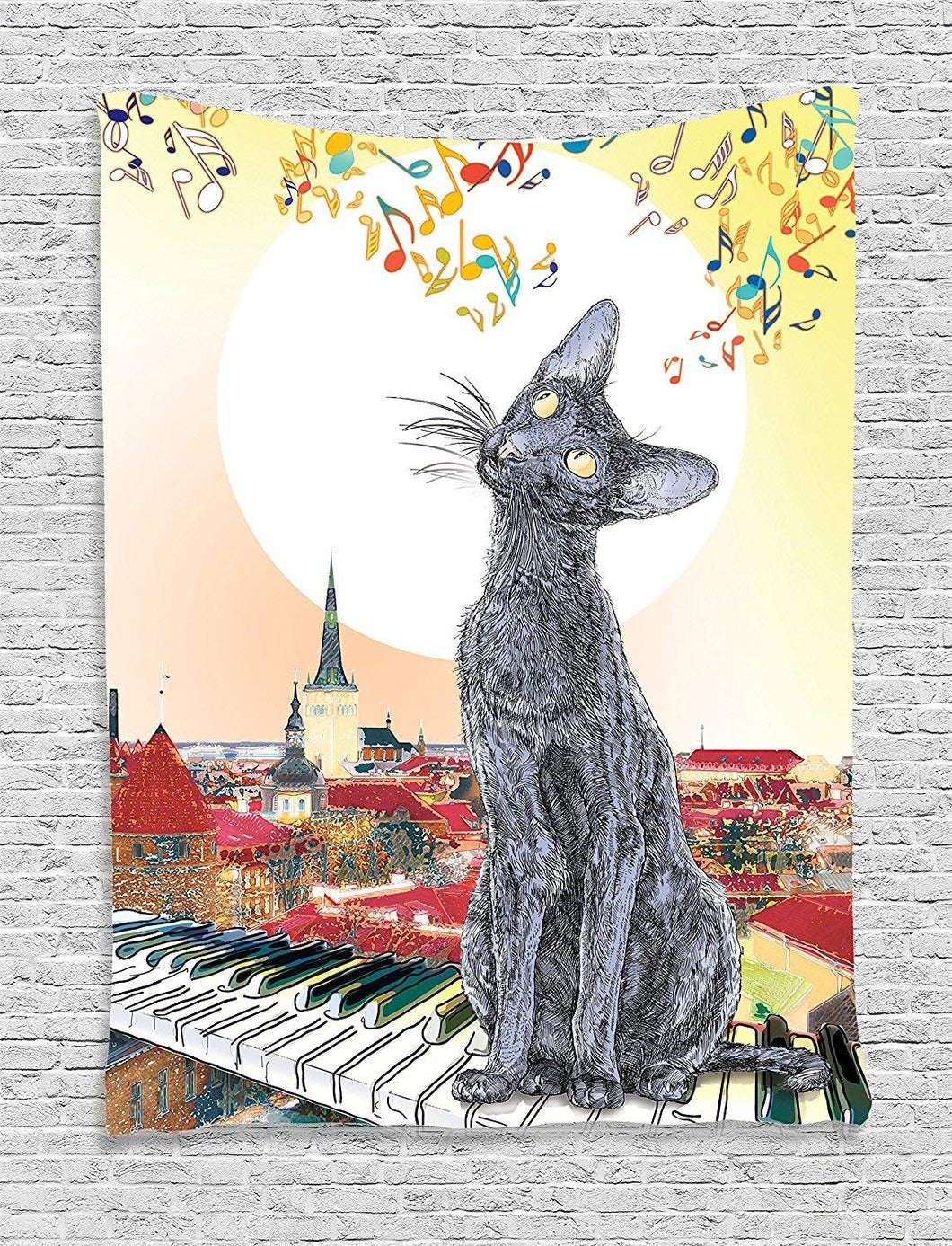 Cat On Piano Tapestry