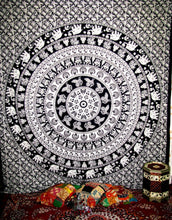Black And White Peacock Mandala Tapestry