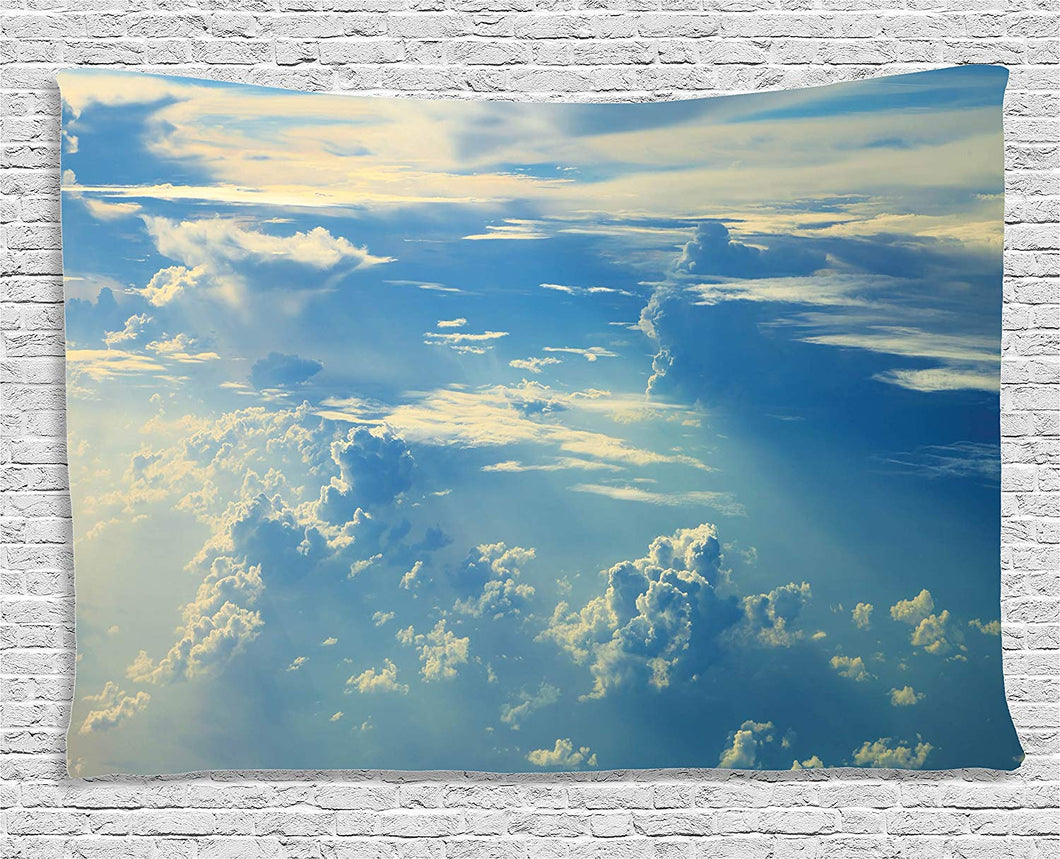 Ambesonne Air Decor Tapestry, Sunrise Foggy Morning Scenery View of Sky And Clouds from Airplane Picture, Wall Hanging for Bedroom Living Room Dorm, 80 X 60 Inches, Navy Babay Blue and Cream