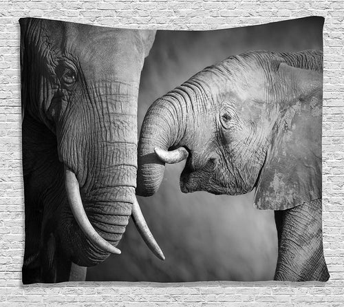 Mother And Baby Elephant Tapestry