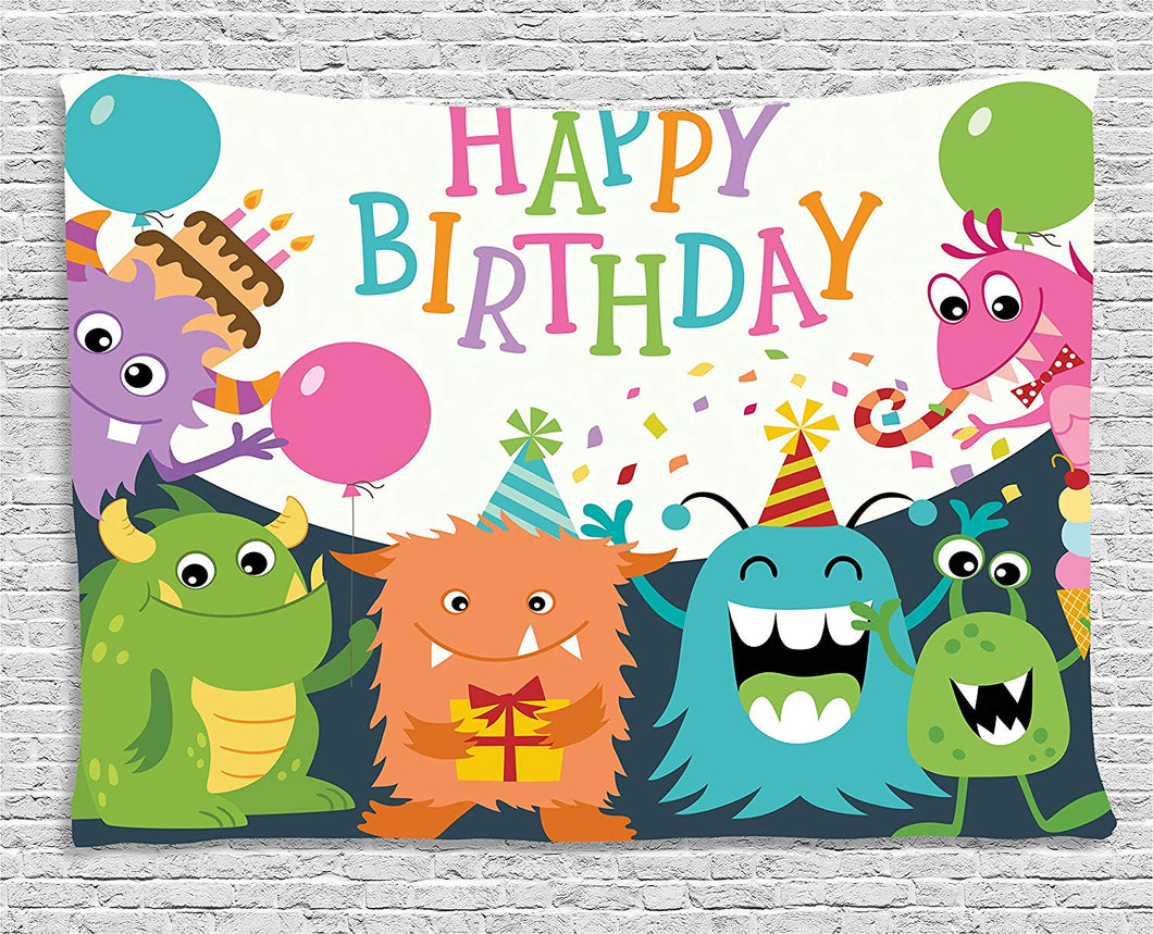 Cute Monsters Happy Birthday Décor Tapestry