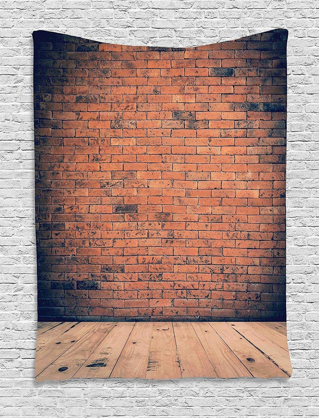 Brick Wall And Antique Wooden Flooring Tapestry