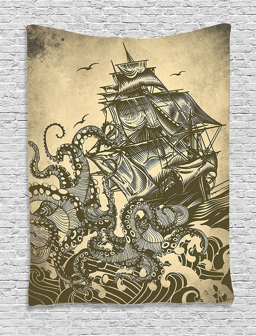 Ambesonne Nautical Decorations Collection, Sailor Ship Octopus Sepia Print, Bedroom Living Kids Girls Boys Room Dorm Accessories Wall Hanging Tapestry, Yellow Brown