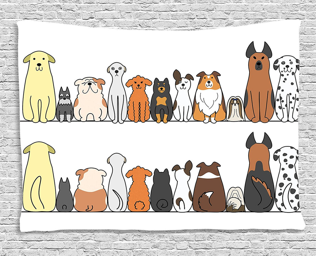 Back And Front Views Of Dogs Tapestry