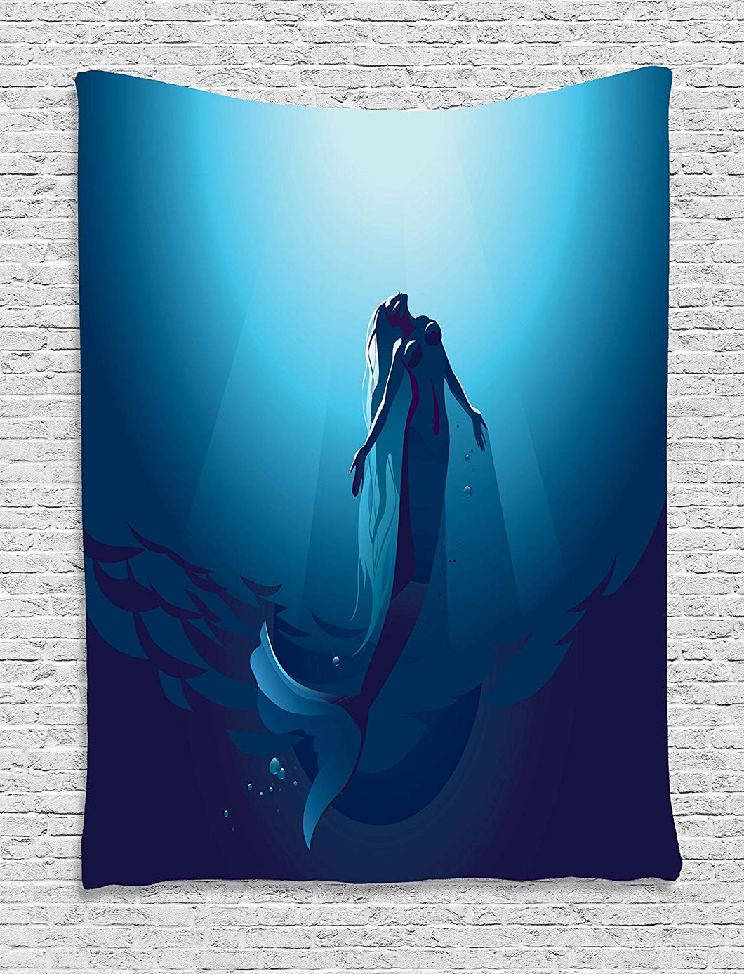 Ambesonne Mermaid Decor Tapestry Wall Hanging By, Mermaid In Deep Water Swimming Up To The Surface Sunlight Rays, Bedroom Living Room Dorm Decor, 60 W x 80 L Inches, Blue