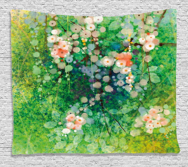 Abstract Floral Water Colour Tapestry