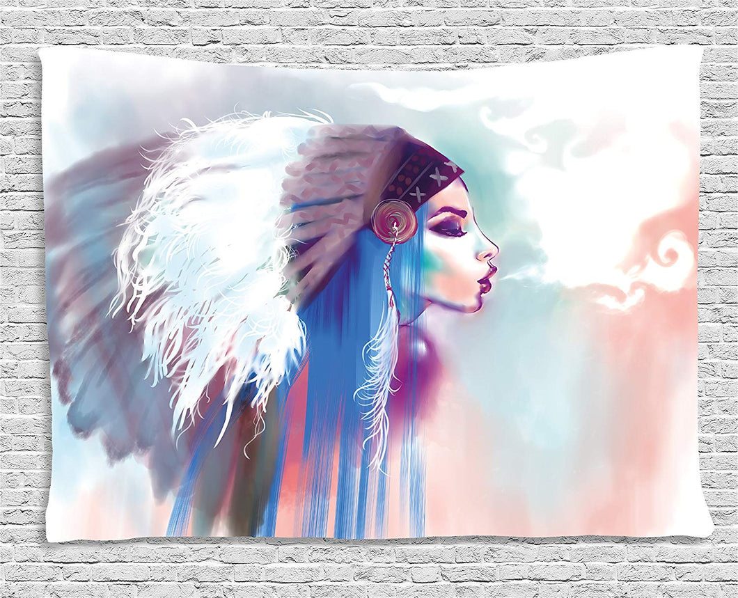 Ambesonne Native American Tapestry, Girl Smoking Pipe with Traditional Clothes Abstract Watercolor Background, Wall Hanging for Bedroom Living Room Dorm, 60 W X 40 L Inches, Multicolor