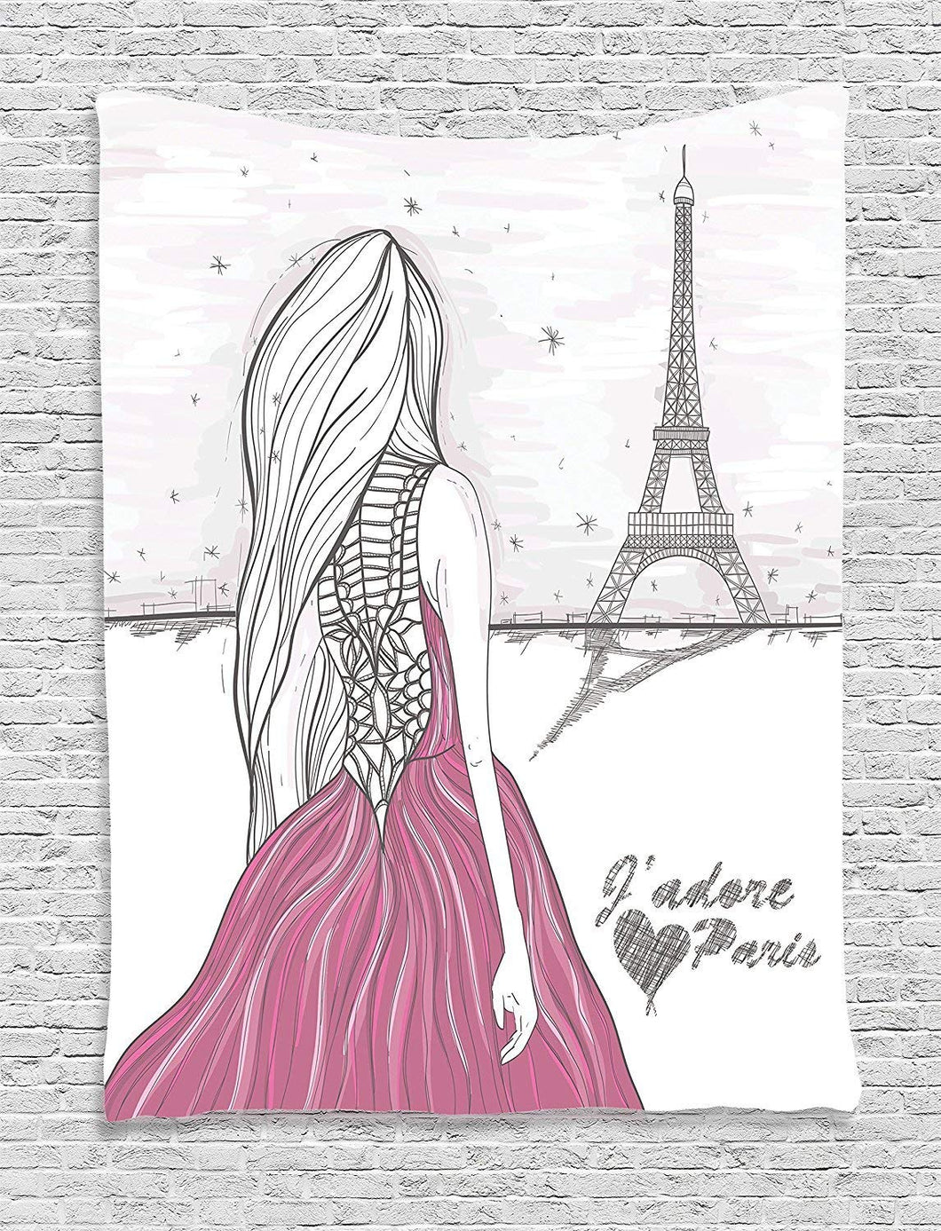 Girl In Paris Tapestry