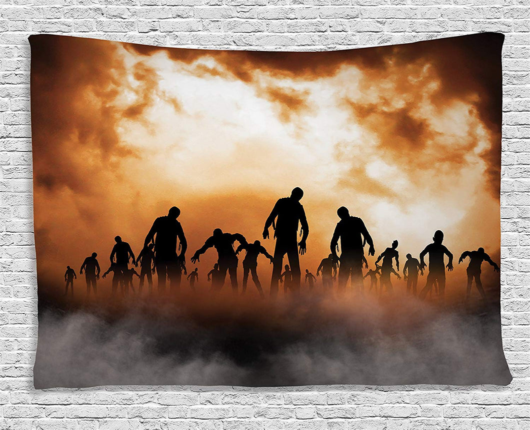 Zombies In The Orange Sky Décor Tapestry