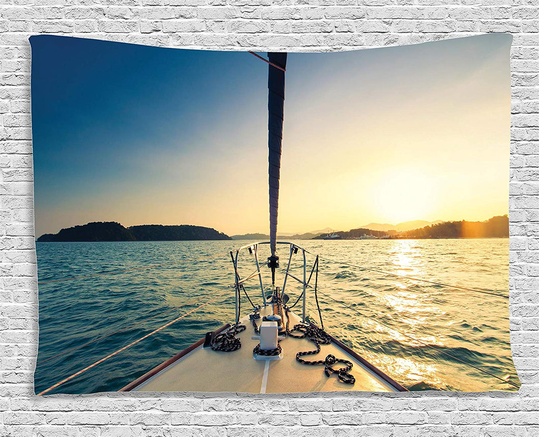 Ambesonne Sailboat Nautical Decor Collection, Nose Of Yacht Sailing In The Sea At Sunset Distant Hills Seaside Sun Reflections , Bedroom Living Room Dorm Wall Hanging Tapestry, 80W X 60L Inch