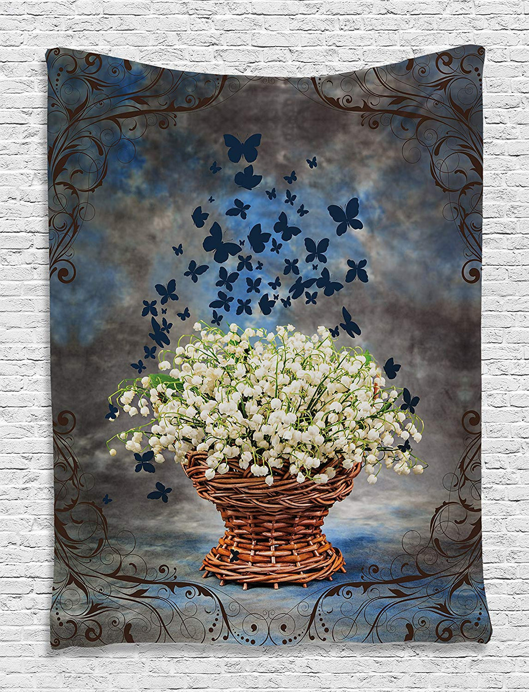 Flowers And Butterflies Décor Tapestry