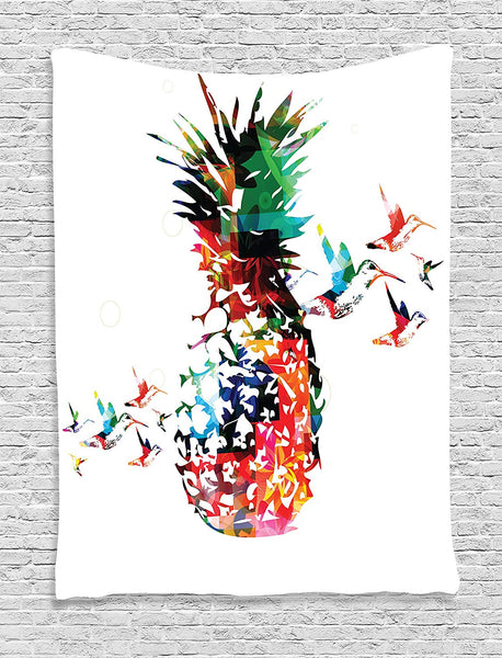 Pineapple Tapestry, Geometric Pineapple Bursting into Scattering Birds Flight Modern Abstract Print, Wall Hanging for Bedroom Living Room Dorm, 40 W X 60 L Inches, Multicolor