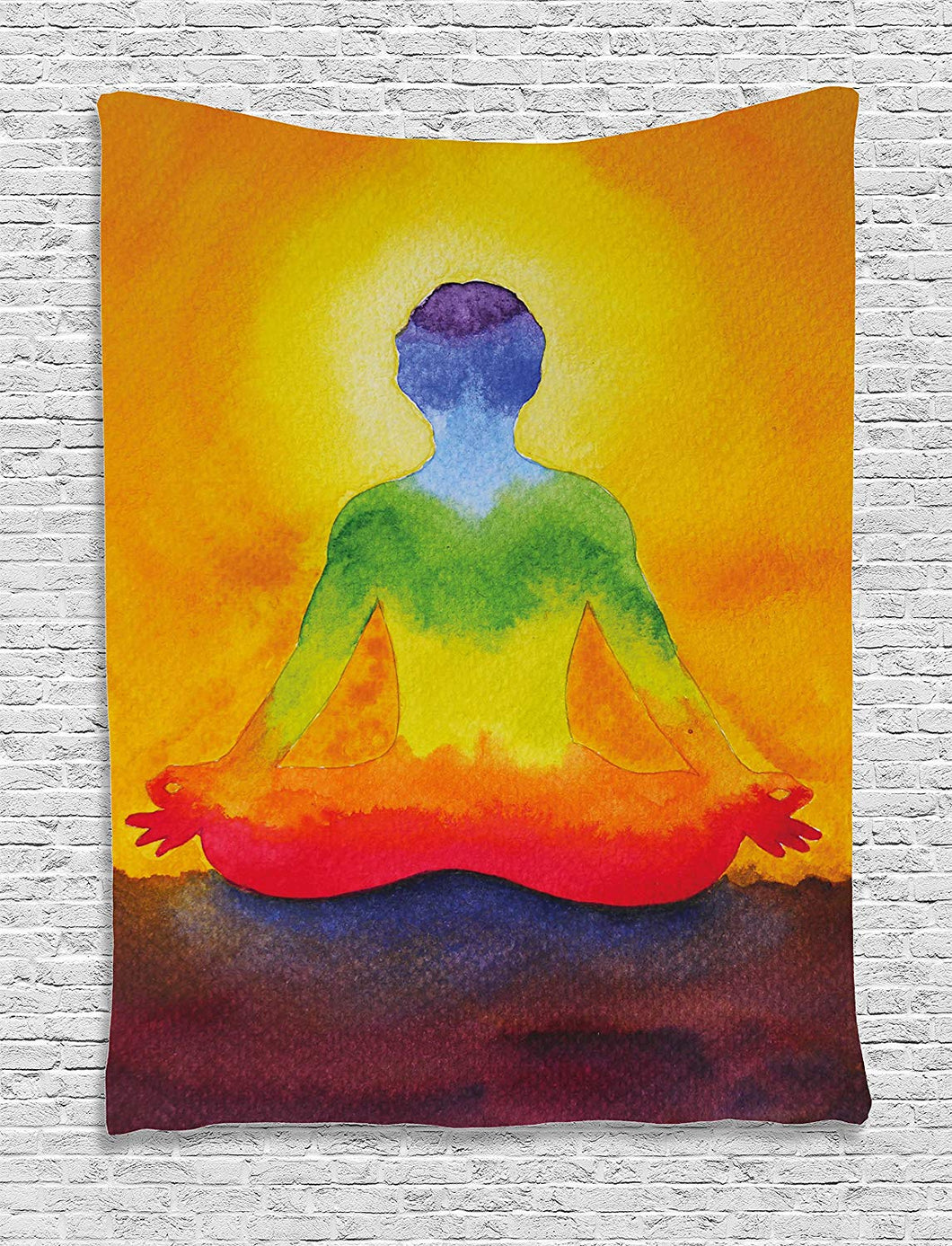 Ambesonne Chakra Decor Tapestry by, Grungy Meditating Human Body ...