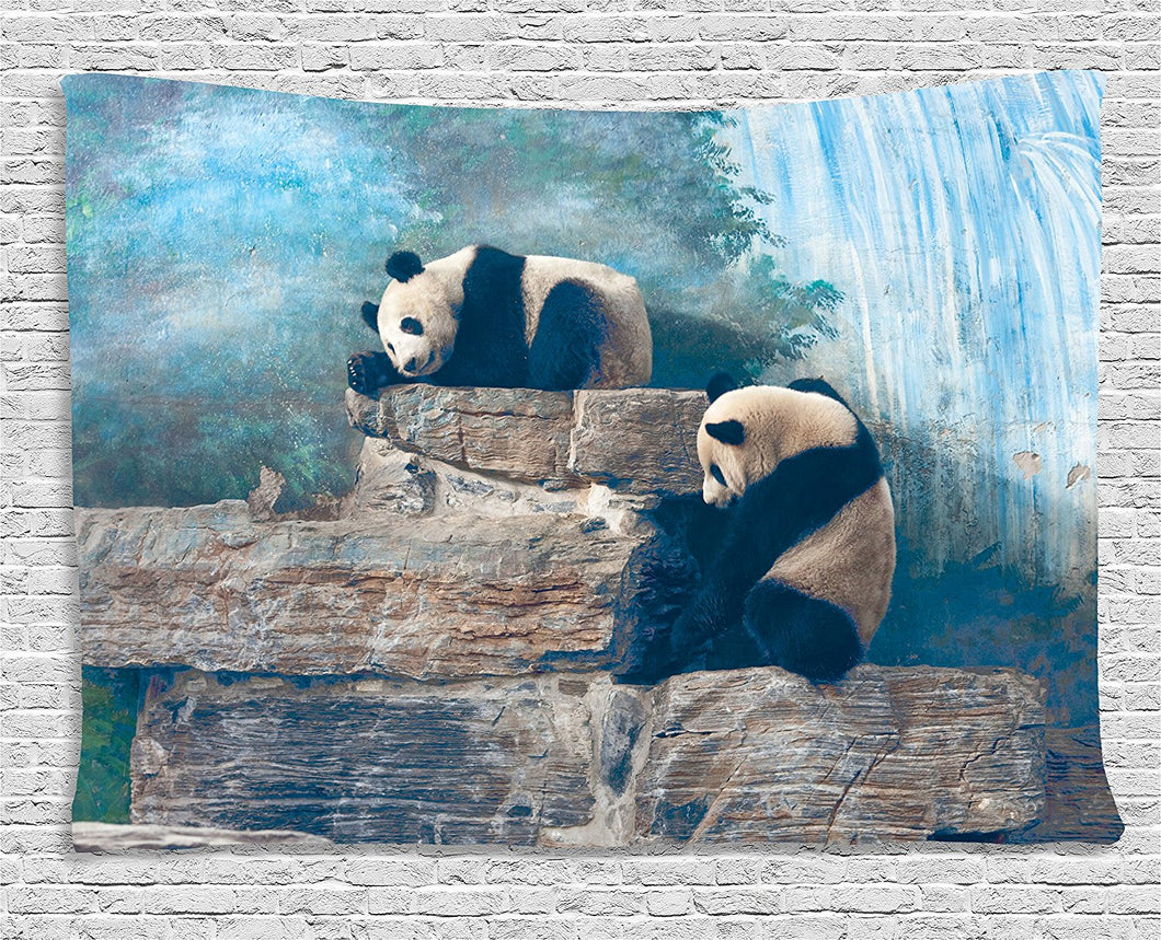 Ambesonne Animal Decor Collection, Picture of Panda in Beijing Zoo Sitting on Stones Waterfall Painted Wall at the Back, Bedroom Living Room Dorm Wall Hanging Tapestry, 60 X 40 Inches, Blue Brown