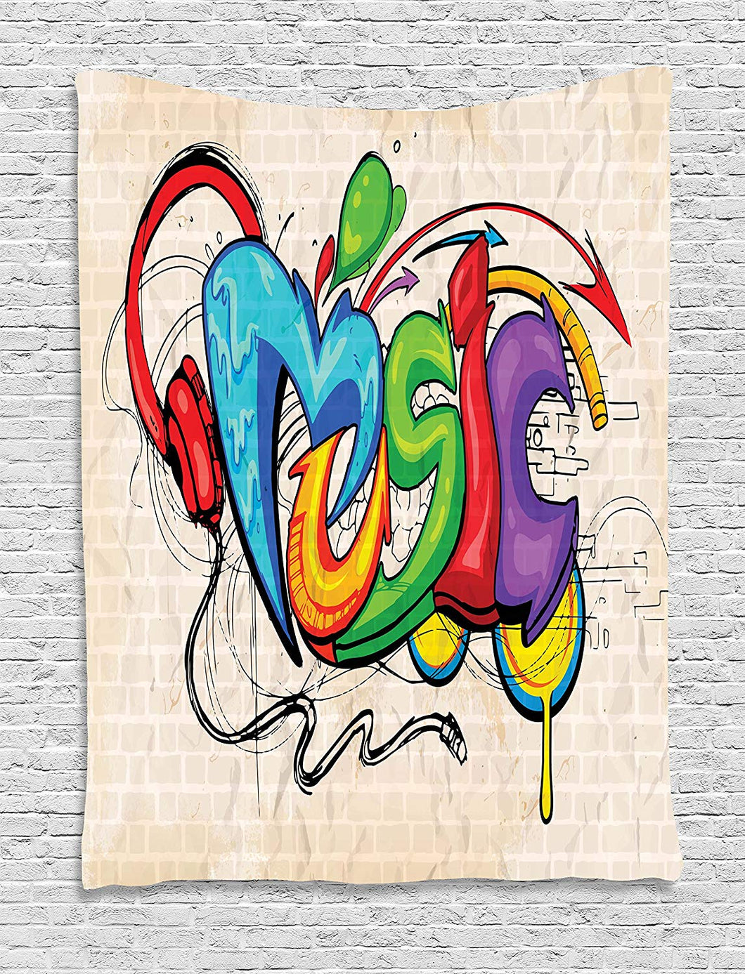 Music Graffiti Décor Tapestry