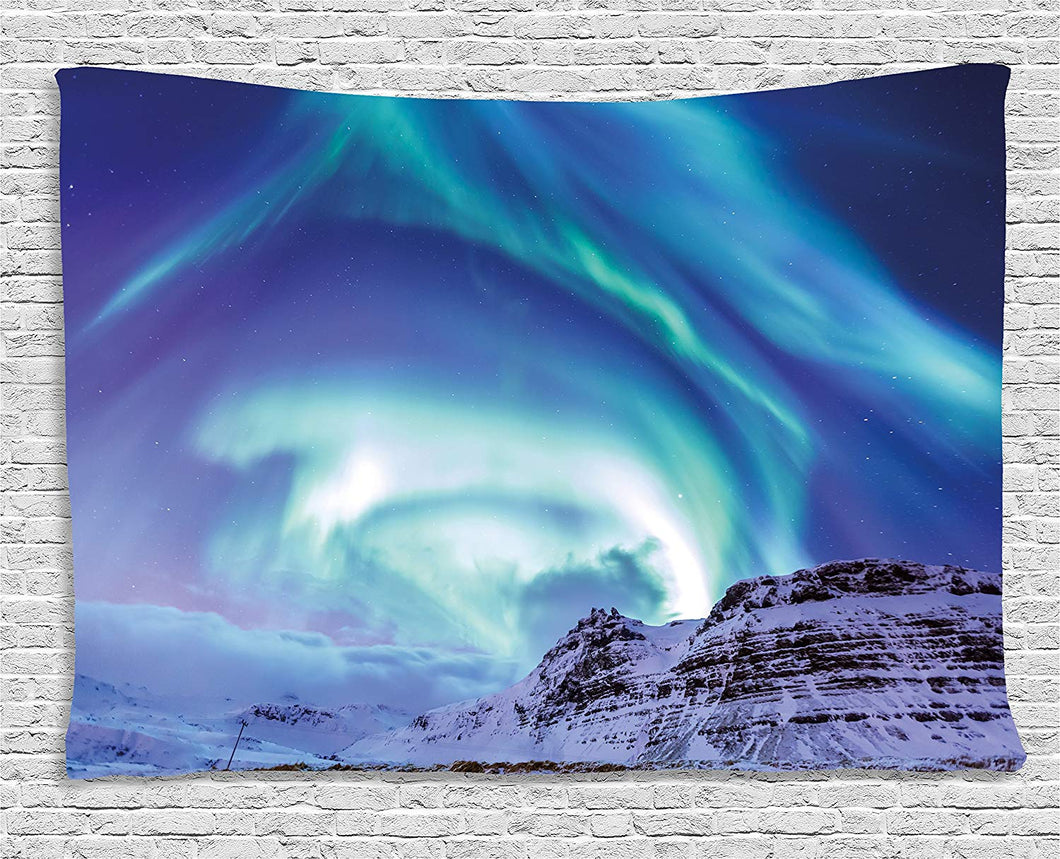 Ambesonne Winter Tapestry, Aurora Borealis at Kirkjufell Iceland Natural Phenomenon Northen Environment, Wall Hanging for Bedroom Living Room Dorm, 60 W X 40 L Inches,