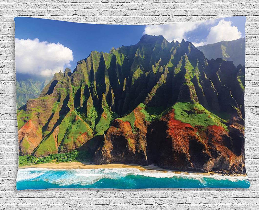 Ambesonne Hawaiian Decor Tapestry, Aerial View of Na Pali Coast Kauai Hawaii Mountain Cliff Seacoast Scenic Photo, Wall Hanging for Bedroom Living Room Dorm, 60 W X 40 L Inches, Green and Brown
