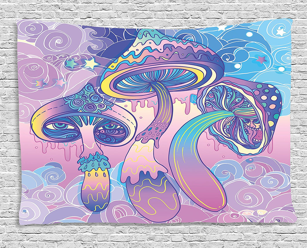 Psychedelic Pastel Mushroom Print Tapestry