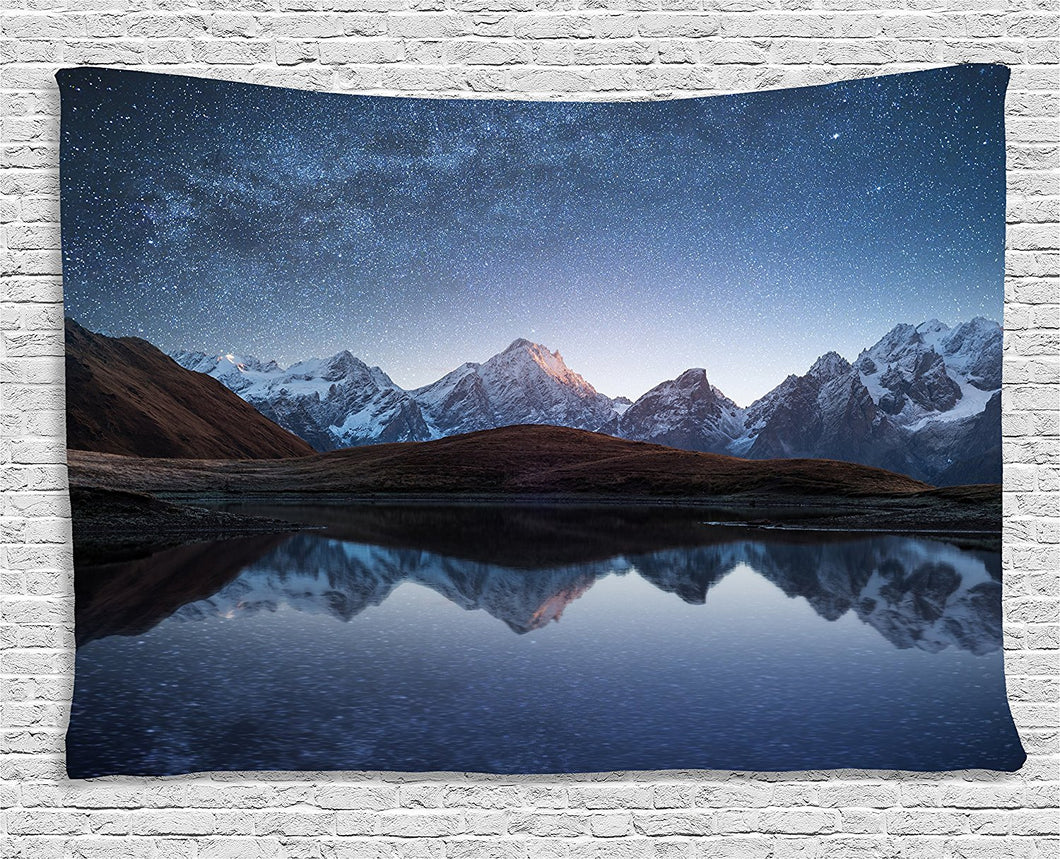 Night Sky Mountain Backdrop Tapestry