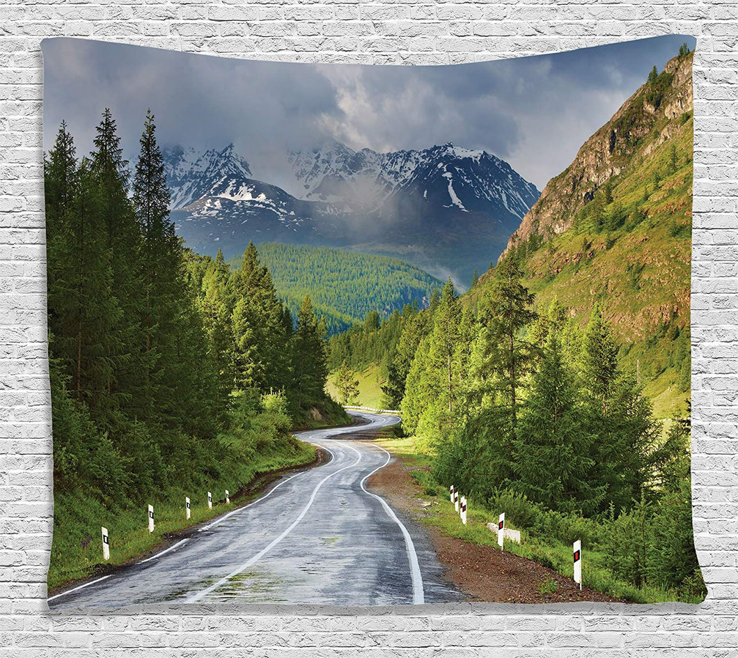 Open Roads With Mountain Backdrop Décor Tapestry