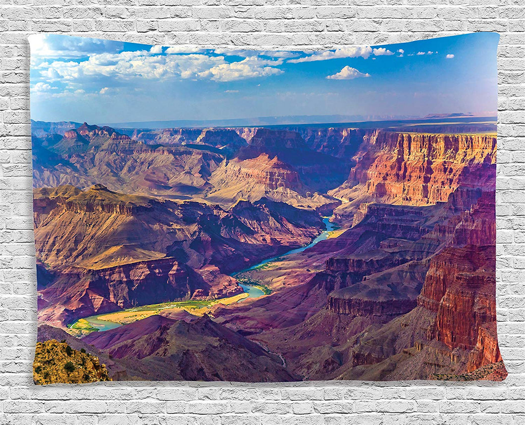 Ambesonne House Decor Tapestry, Aerial View of Epic Grand Canyon Activity of River Stream over Rock Plateau Print, Wall Hanging for Bedroom Living Room Dorm, 60 W X 40 L Inches, Blue Tan