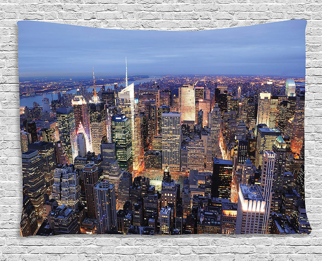 New York City Aerial View Tapestry