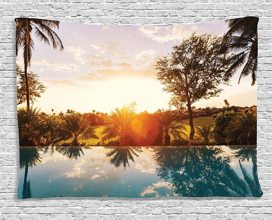 Pool At Sunset Décor Tapestry