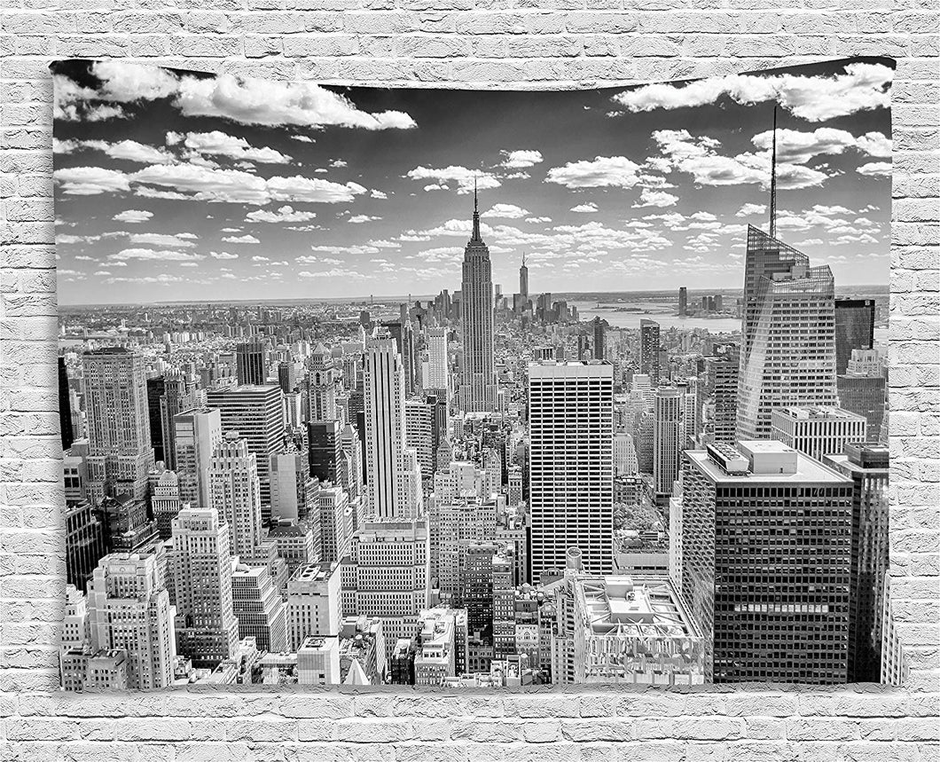 Ambesonne New York Tapestry Decor, NYC over Manhattan from Top of Skyscrapers Urban Global Culture Artful City Panorama, Wall Hanging for Bedroom Living Room Dorm, 80 W X 60 L Inches, Grey