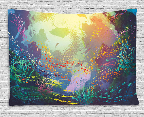 Beautiful Fish Swimming Tapestry