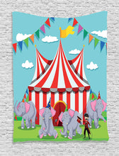Circus Elephants And Ring Master Tapestry