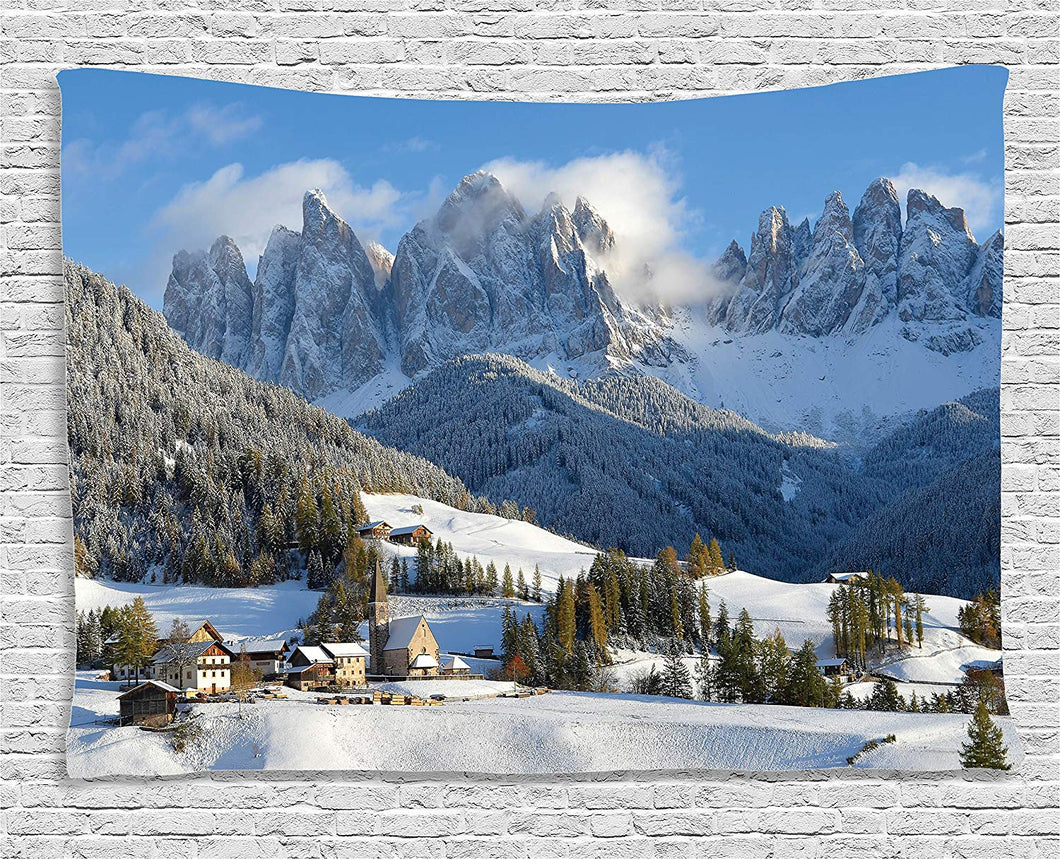 Ambesonne Apartment Decor Collection, Mountain Village Scenery in Winter with Snow Peaks Northern Zone Spot Alps Photo, Bedroom Living Room Dorm Wall Hanging Tapestry, 80 X 60 Inches, White Blue Green