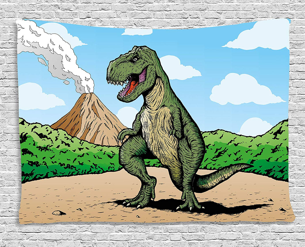 Ambesonne Dinosaur Tapestry, Giant Lizard T-Rex on Active Volcano Untouched Jungle Backdrop, Wall Hanging for Bedroom Living Room Dorm, 60 W X 40 L Inches, Green Light Brown Light Blue