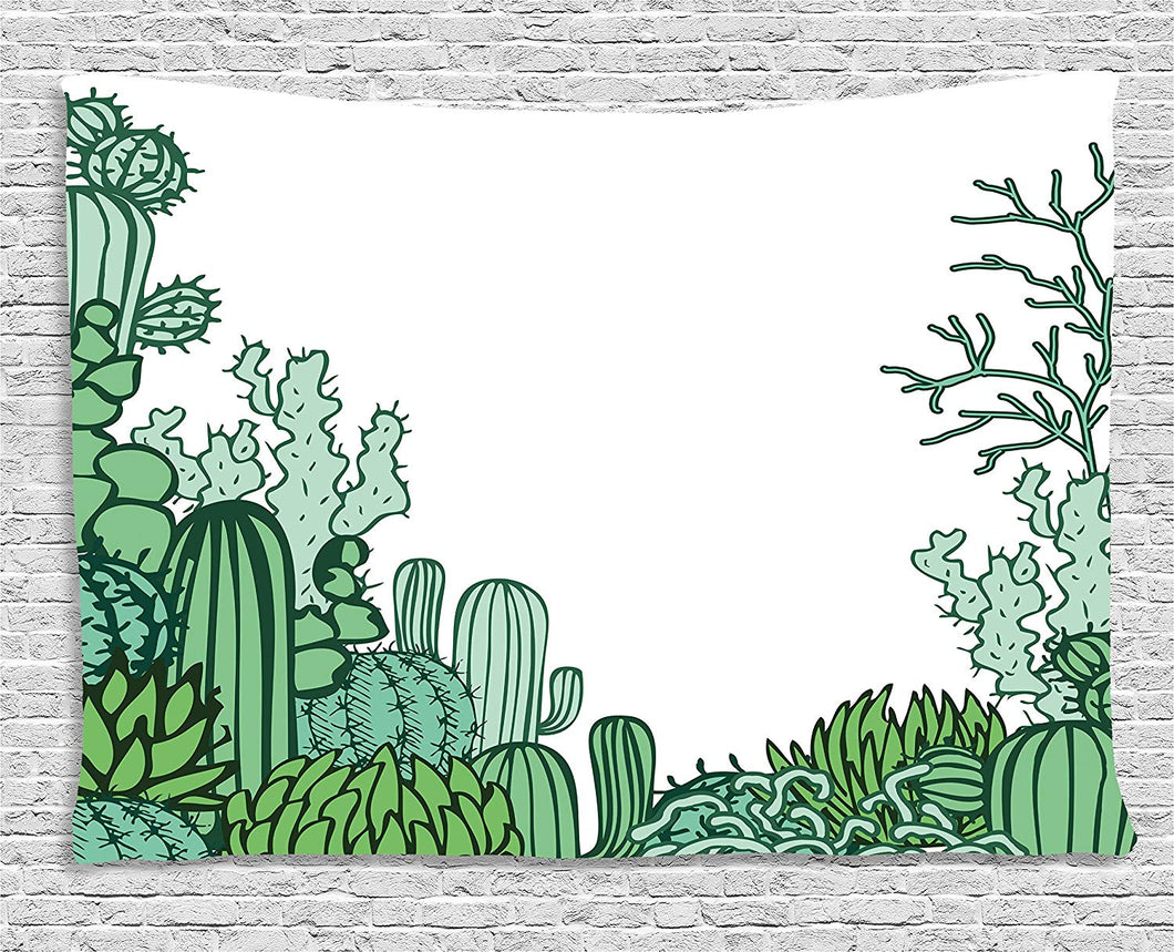 Ambesonne Cactus Decor Tapestry, Arizona Desert Themed Doodle Cactus Staghorn Buckhorn Ocotillo, Wall Hanging for Bedroom Living Room Dorm, 80 W X 60 L Inches, Green Light Green Seafoam