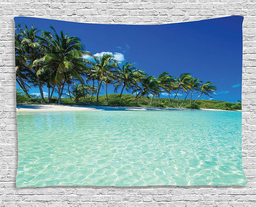 Tropical Island Palm Trees Clear Waters Tapestry