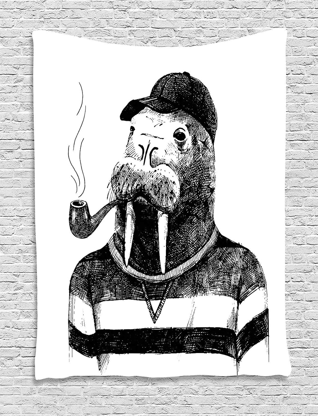 Funny Walrus Smoking A Pipe Décor Tapestry
