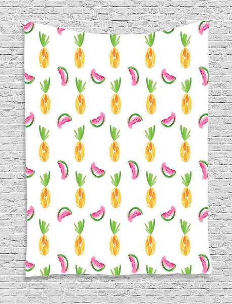 Pineapple Decor Tapestry by, Pineapple And Watermelon Fruit Themed Minimal Sketch Style Pastel Watercolor Pattern Print, Bedroom Living Room Dorm Decor, 40 W x 60 L Inches, Multi