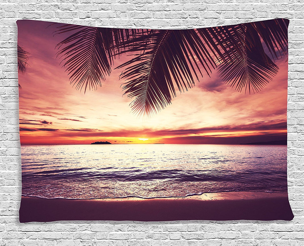 Beach And Palm Tree Décor Tapestry