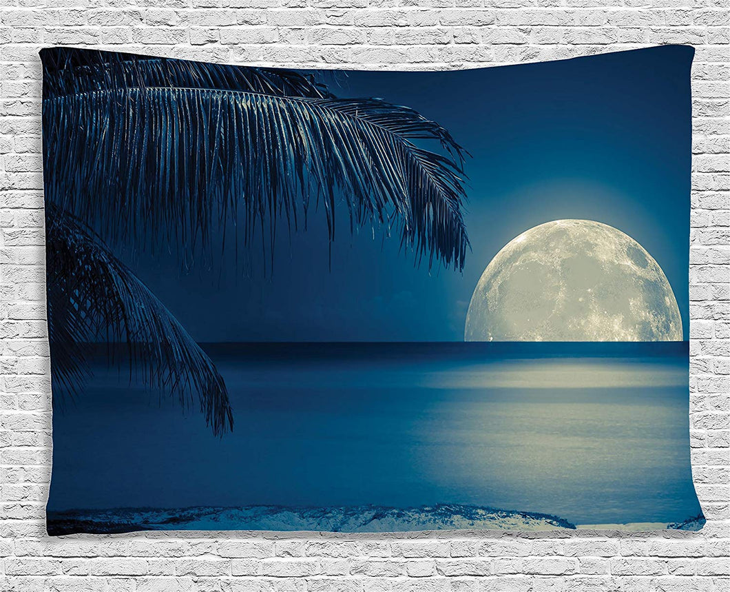 Full Moon Reflecting On The Ocean Décor Tapestry