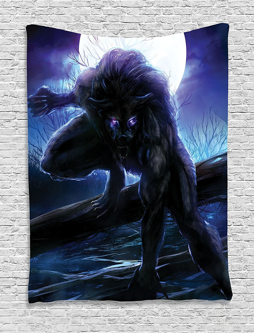 Fantasy World Decor Tapestry, Surreal Werewolf with Electric Eyes in Full Moon Transformation Folkloric Decor, Wall Hanging for Bedroom Living Room Dorm, 60 W x 80 L Inches, Purple Blue