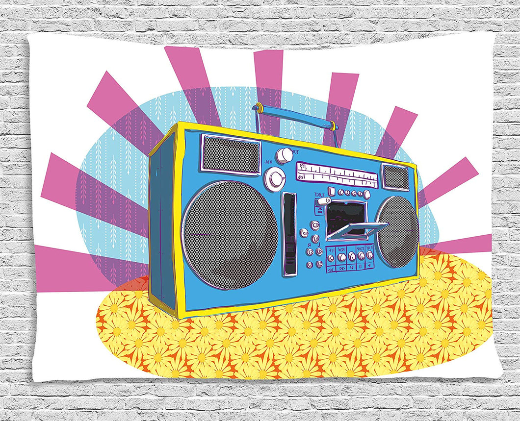 Retro Boom Box Of The 70's Décor Tapestry
